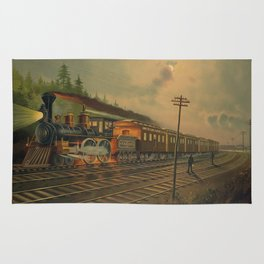 Night Scene on the NY Central Railroad (1884) Rug
