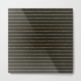 Black & Gold Glitter Stripes Metal Print