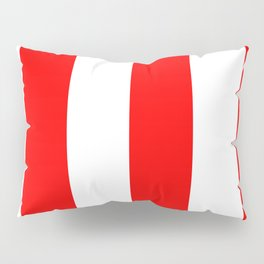 Wide Vertical Stripes - White and Red Pillow Sham