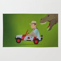 jurassic park Area & Throw Rugs featuring Jurassic Park by DWatson
