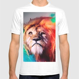 Colorful lion looking up Feathers Space Universe T-shirt