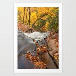 Autumn Waterfall Precipice Art Print
