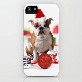 Bulldog Christmas Gift Box Ornaments Red Santa Hat iPhone Case