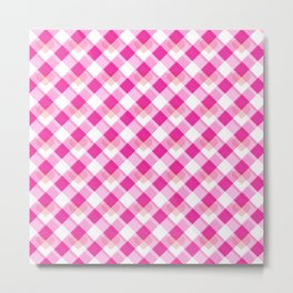 Heart Plaid Pattern Metal Print