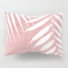 Pink Paint Stroke of Palm Leaves Pillow Sham