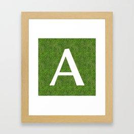 A initial letter alphabet on the grass Framed Art Print