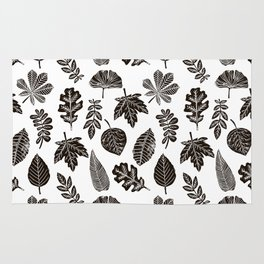 Linocut leaves fall autumn black and white home decor seasonal patterns Rug