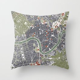 Rome city map engraving Throw Pillow