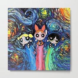 Powerpuff Girls Starry Night van Gogh Metal Print