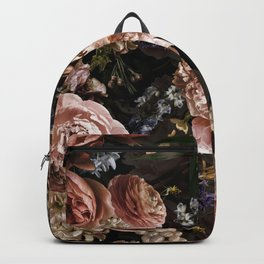 Vintage & Shabby Chic- Real Roses And Peonies Lush Midnight Flowers Botanical Garden Backpack
