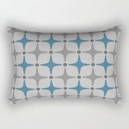 Mid Century Modern Star Pattern Grey and Blue Rectangular Pillow