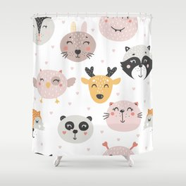 Woodland Critters Pattern Shower Curtain