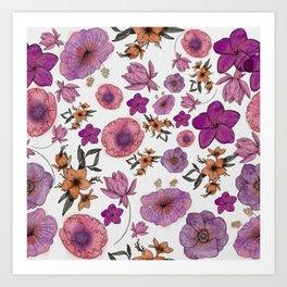 Floral Watercolor Pattern 1.3 Art Print