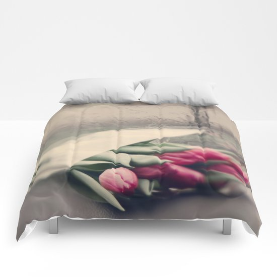 tulips on a rainy day Comforters