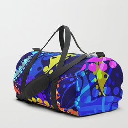 Texture of bright colorful and blue gears and laurel wreaths in kaleidoscope style on a dark blue ba Duffle Bag