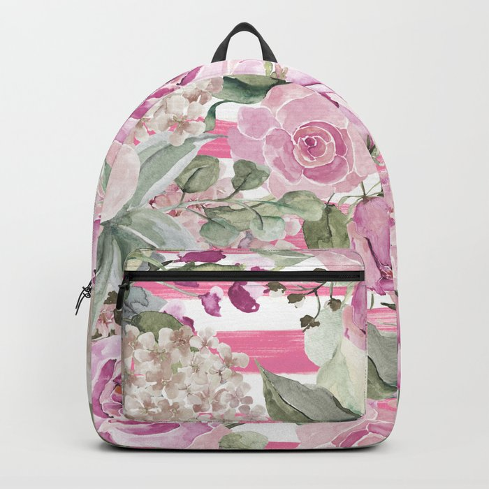 Country chic watercolor pastel green pink geometric floral Backpack
