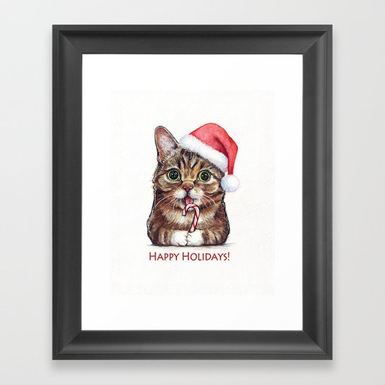 Cat in Santa Hat with Candy Cane Framed Art Print