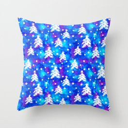 Watercolor Seamless pattern with hand drawn snowflakes and christmas tree . Throw Pillow