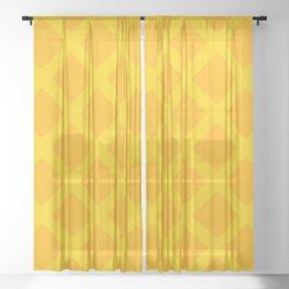 Yellow Diamond Pattern Sheer Curtain