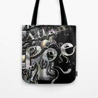 edgar allan poe Tote Bags featuring Edgar Allan Poe by Irmak Akcadogan