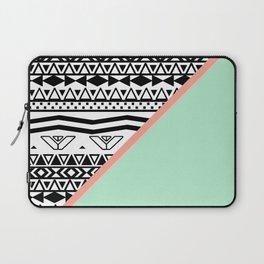 Block   Black White Aztec Pattern Mint Green Color Block Laptop Sleeve