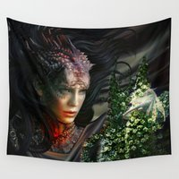 mother of dragons Wall Tapestries featuring Dragons by Nell Fallcard