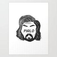 pirlo Art Prints featuring Pirlo B&W by wearwolves