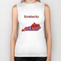 kentucky Biker Tanks featuring Kentucky Map by Roger Wedegis