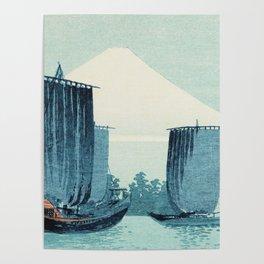 Japanese Sailboats and Mount Fuji Poster