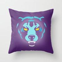 fierce Throw Pillows featuring Fierce by MaNia Creations