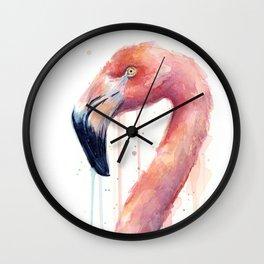 Pink Flamingo Painting Wall Clock