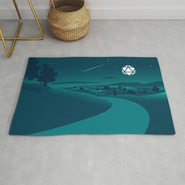 Countryside Road Night Shooting Star D20 Dice Moon Tabletop RPG Landscape Rug