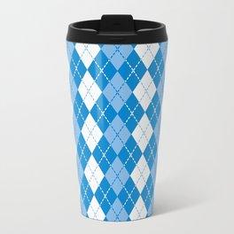 Argyle Design in Blue and White Travel Mug