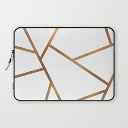 White and Gold Fragments - Geometric Design Laptop Sleeve