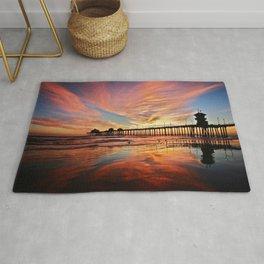 Pink Sunset Reflections  ~ Huntington Beach Pier CA Rug