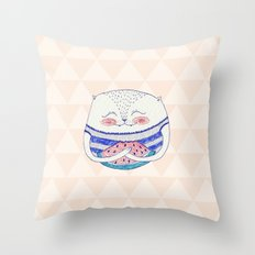 summertime cat Throw Pillow