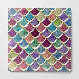 Fun Watercolor Fish-scale pattern Metal Print