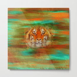 Tiger head on painted texture Metal Print