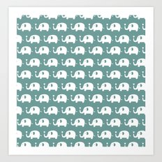 Elephants in love (turquoise) Art Print