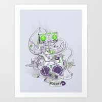 hippy Art Prints featuring Hippy robot by Mathijs Vissers