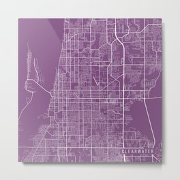Clearwater Map, USA - Purple Metal Print