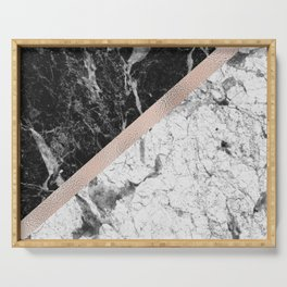 Monochrome marble designer - rose gold Serving Tray