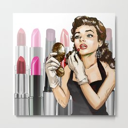 Retro Pinup Girl Lipstick Tubes Makeup Cosmetics Metal Print