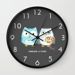 Owls Wedding Day   Bride and Groom Wall Clock