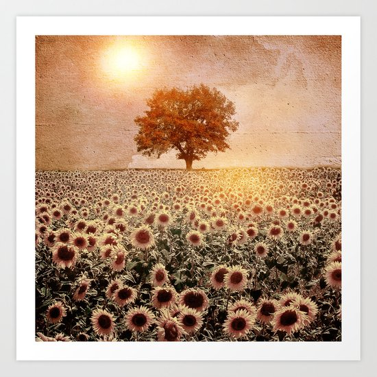 lone tree & sunflowers field (colour option) Art Print