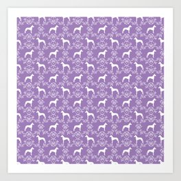 Great Dane floral silhouette dog breed pattern minimal simple purple and white great danes Art Print