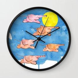 Flying Elephants Wall Clock