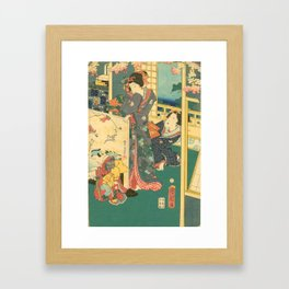 Spring Outing In A Villa Diptych #2 by Toyohara Kunichika Framed Art Print