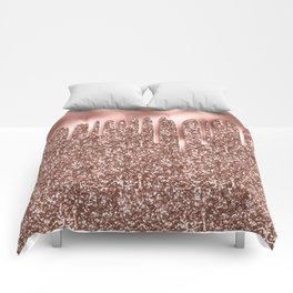 Rose Gold Drip & Sparkle Comforters