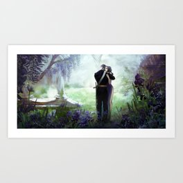 In your arms - Love embrace before departure - couple tight hug Art Print